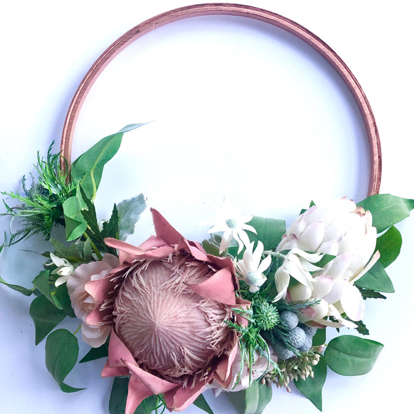 Native floral hoop - dusty pink + rose gold.