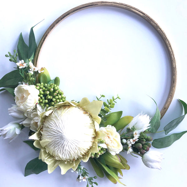 Native floral hoop - white + gold.