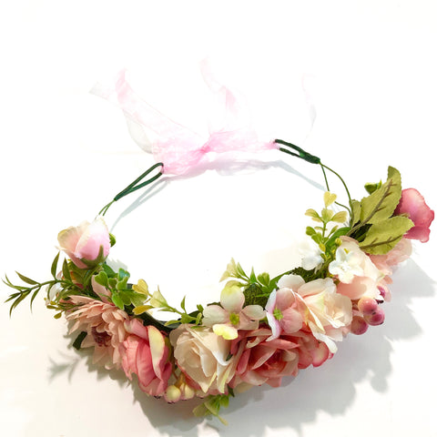 Boho mixed Flowercrown - coral/peach.