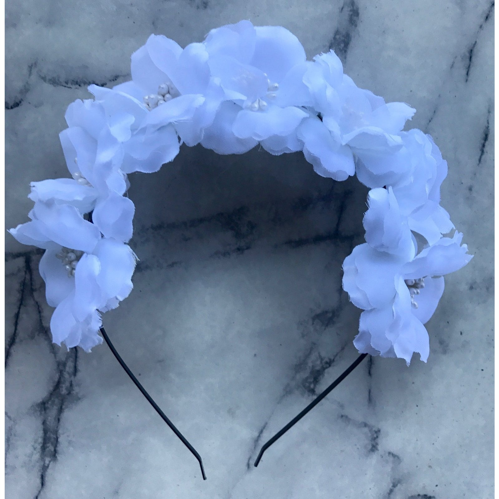 WHITE- floral crown headband.