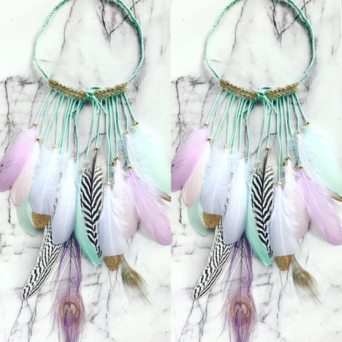 I believe in unicorns- pastel feather headpiece.