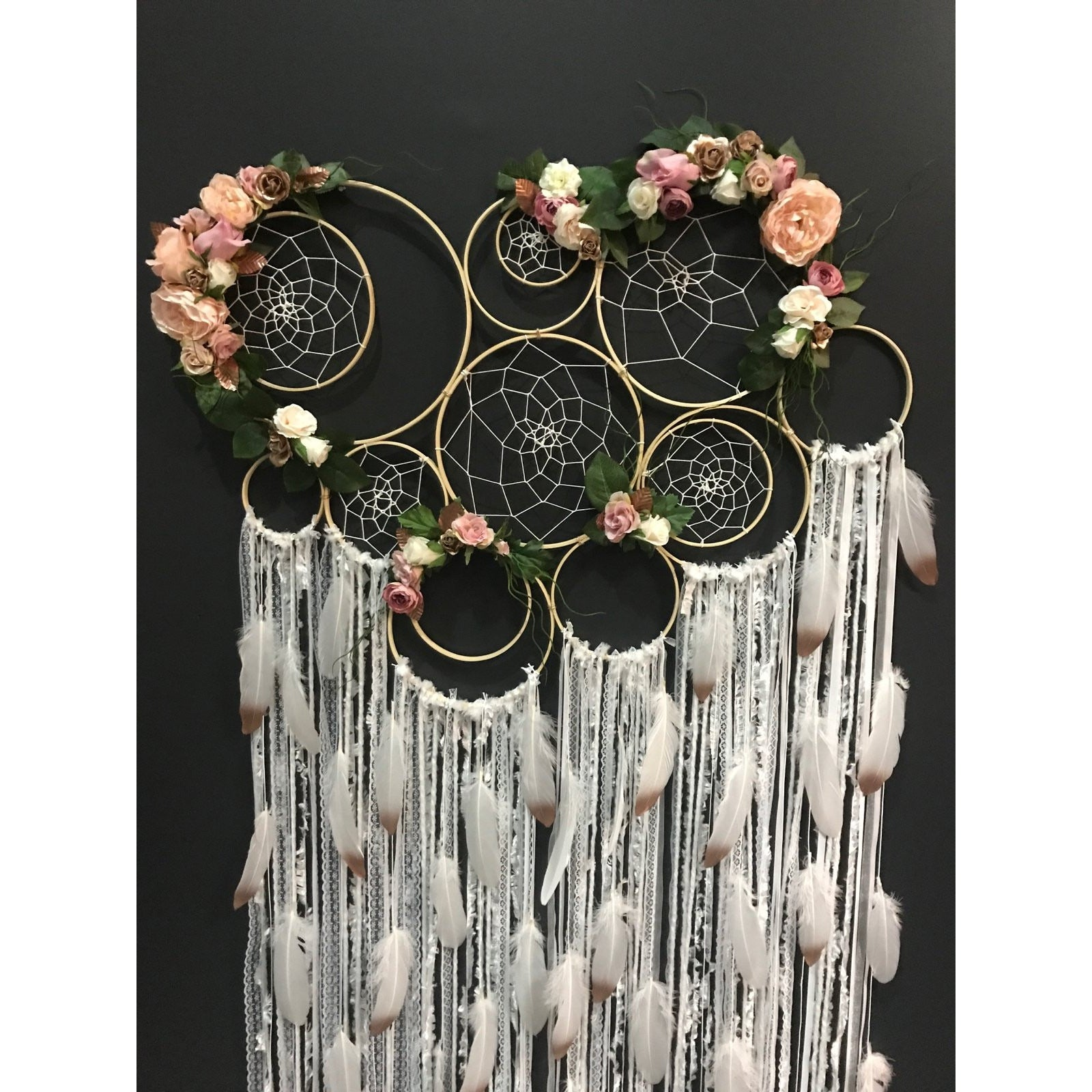 LARGE- Dusty pink + rose gold floral wall piece. Approx. 80cm wide.
