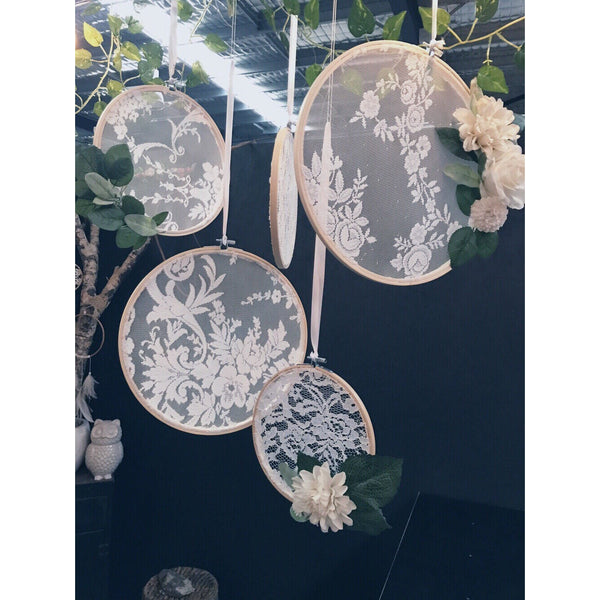 Floral + lace hanging hoop collection.