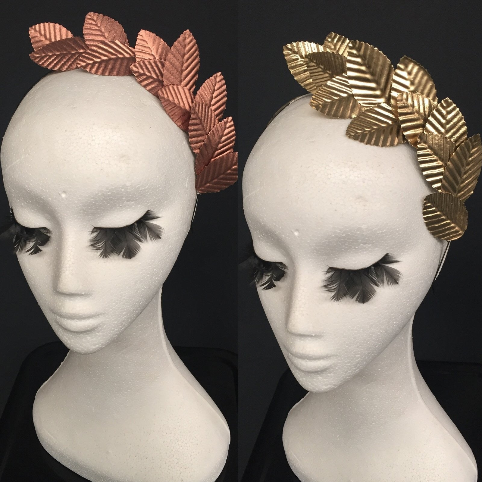 Ivy- side metallic leaf headband.