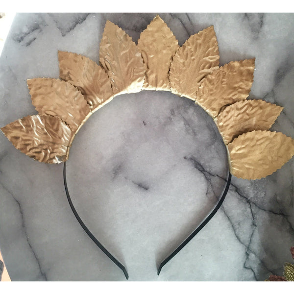Large metallic leaf crown- gold, silver, rose gold.