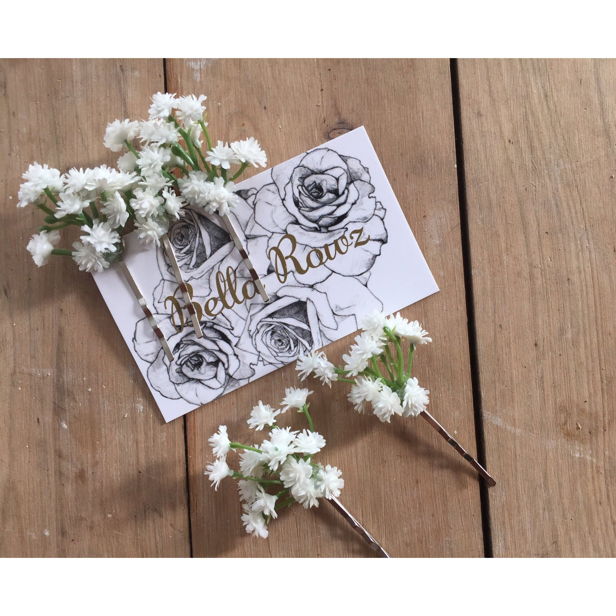 Babys breath hair pins.