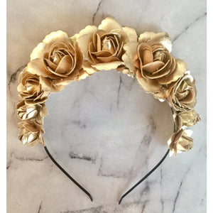 Gold Rosette flower crown / headband
