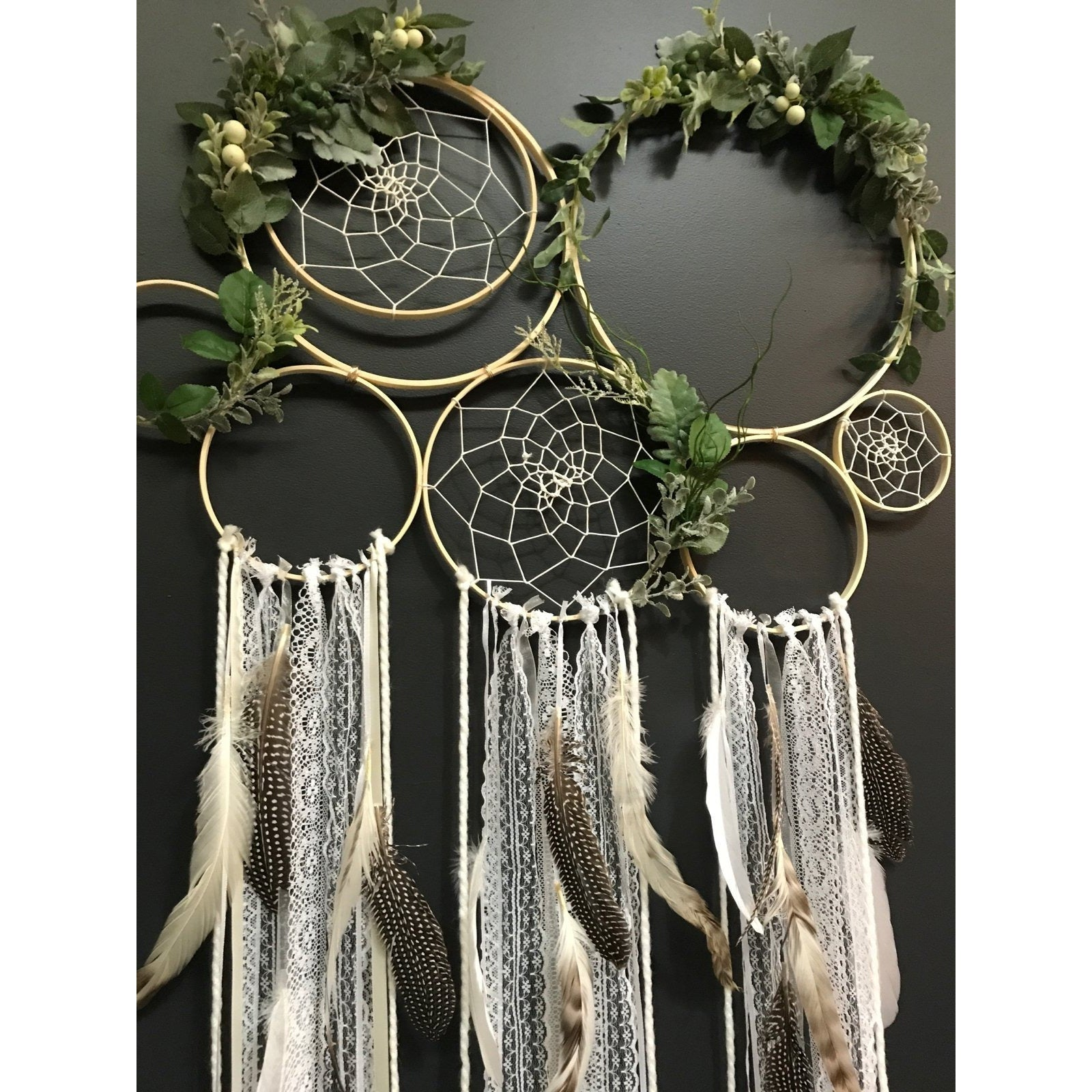 Bohemian guinea Dreamcatcher wall piece.