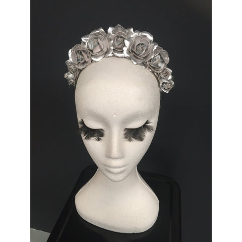 Silver rosette flower crown / headband