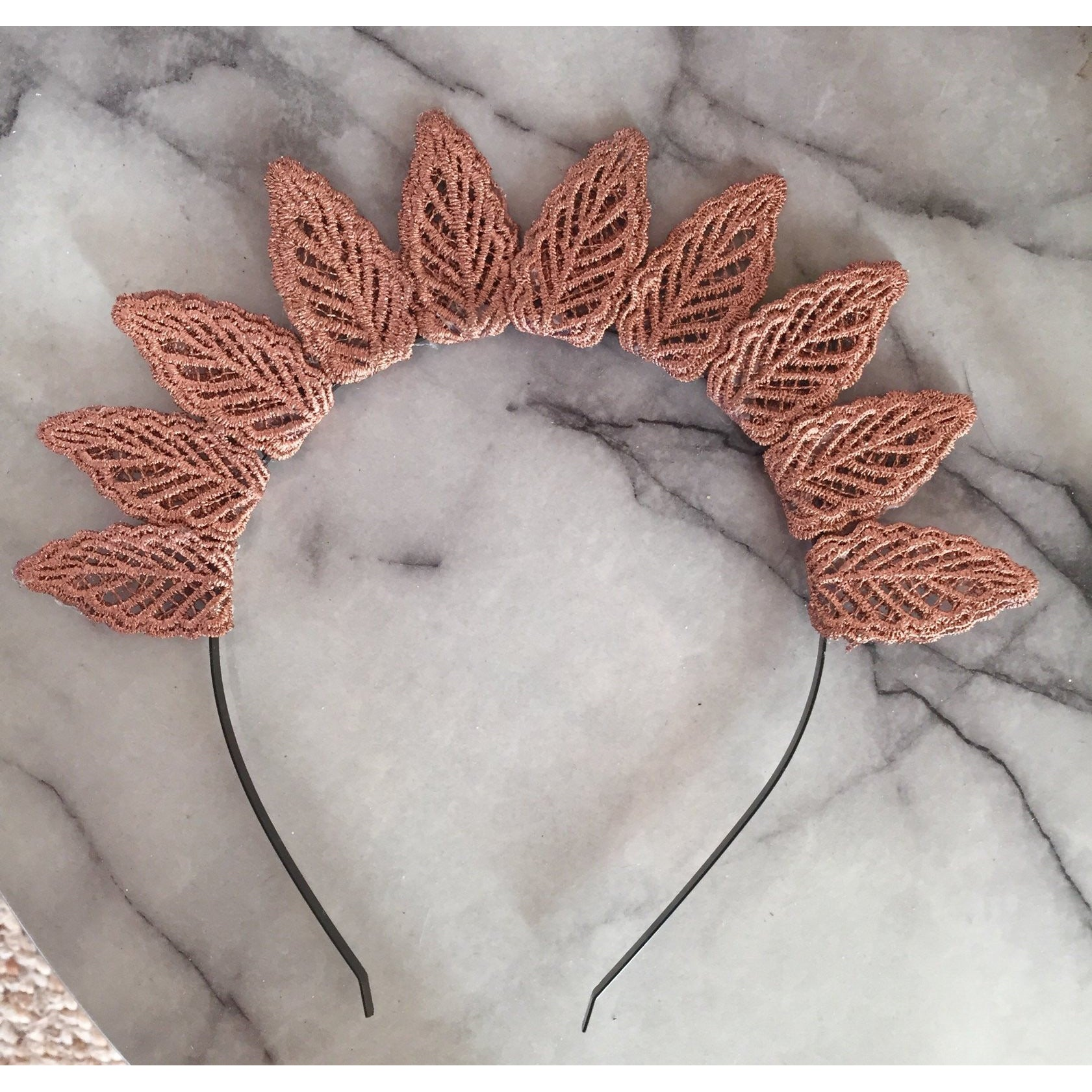 Rose Gold Lace Leaf crown.