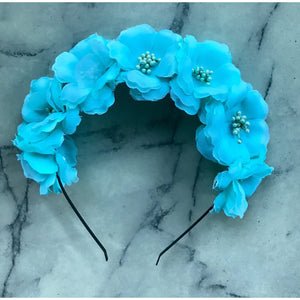 AQUA- floral crown headband.