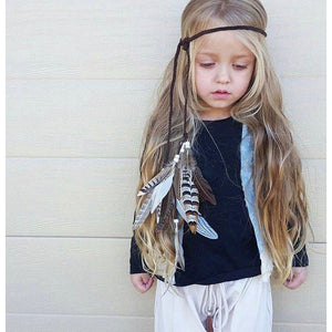 Boho Feather head wrap - chocolate brown.
