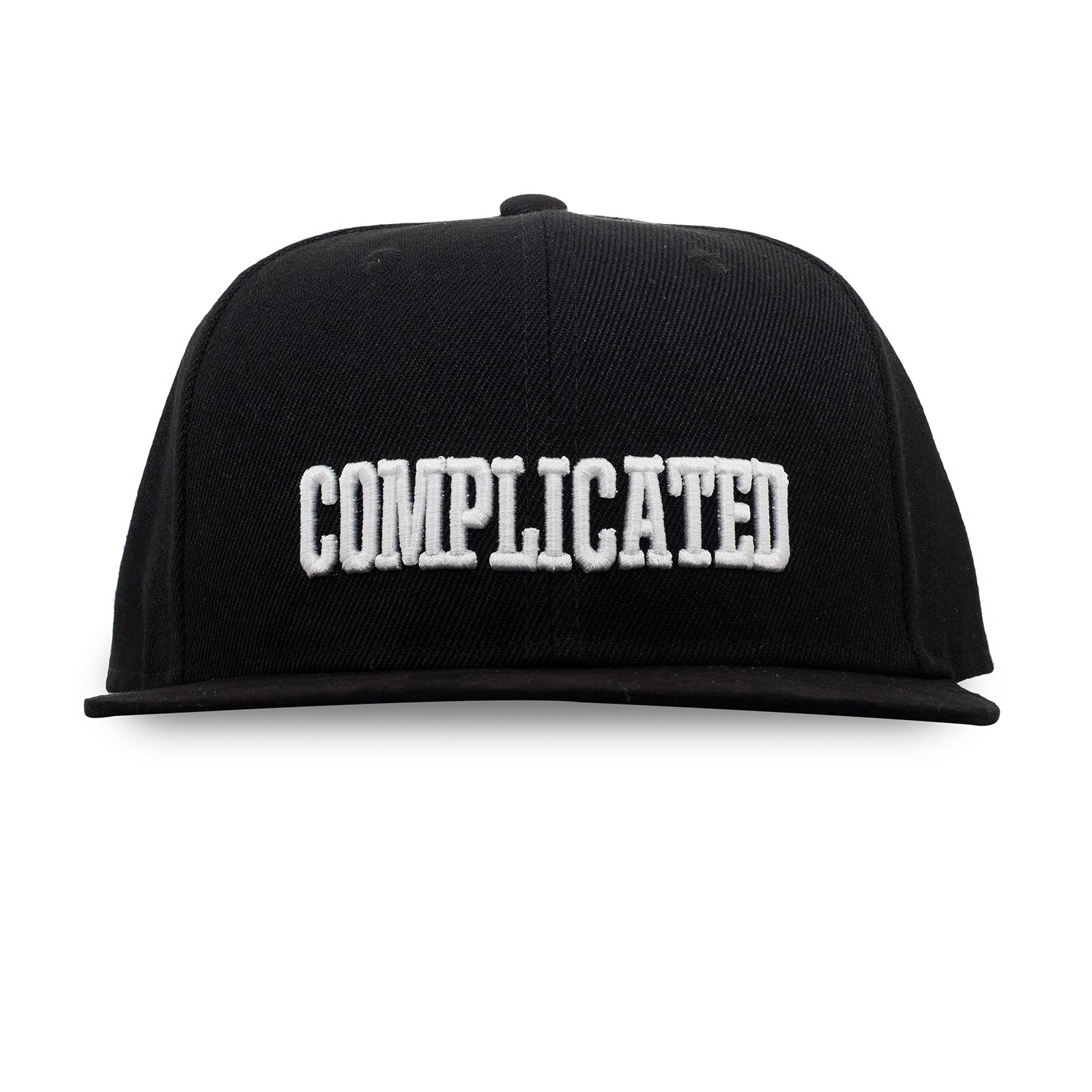"Black ""COMPLICATED"" Snapback hat with suede brim"