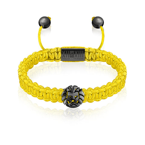 WATCHANISH by Twelve Thirteen Jewelry macramé braided bracelet - Yellow/Polished Black