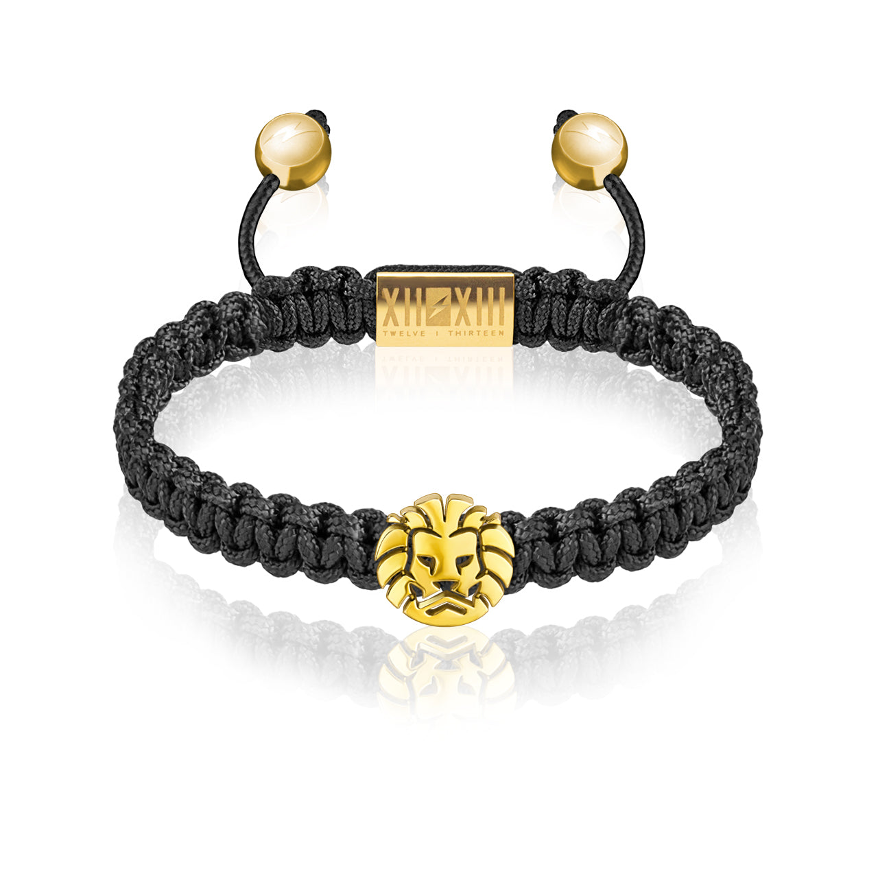 WATCHANISH by Twelve Thirteen Jewelry macramé braided bracelet - Black/Polished Yellow Gold