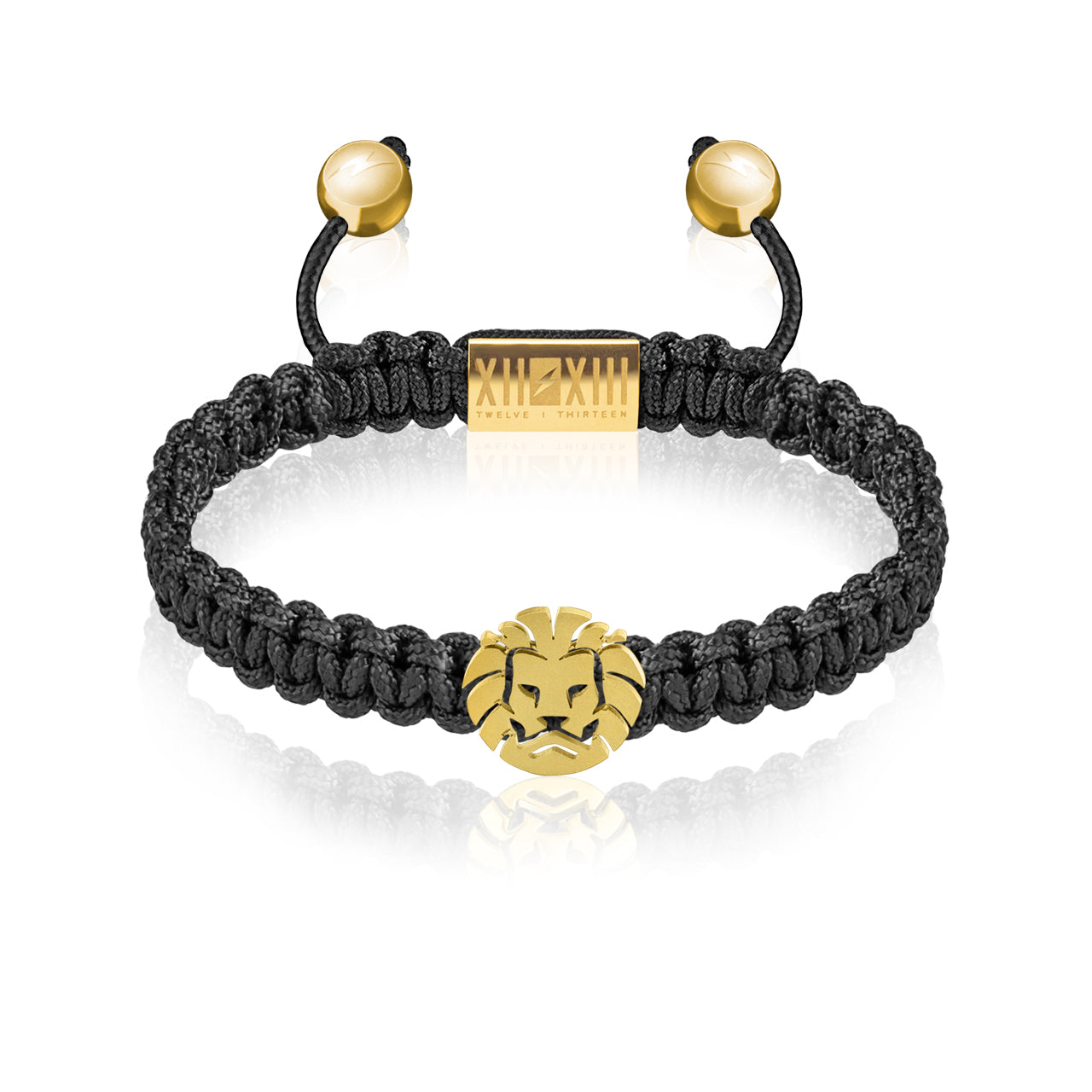 WATCHANISH by Twelve Thirteen Jewelry macramé braided bracelet - Black/Matte Yellow Gold