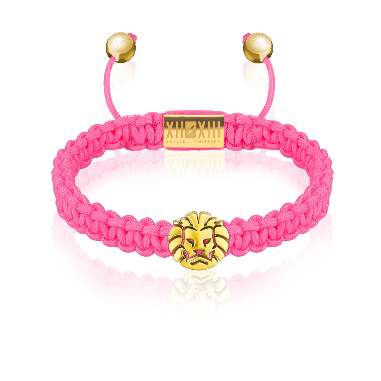 WATCHANISH by Twelve Thirteen Jewelry macramé braided bracelet - Hot Pink/Polished Yellow Gold