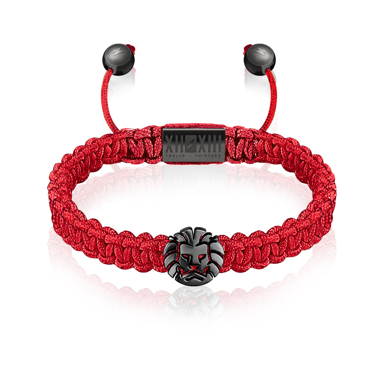 WATCHANISH by Twelve Thirteen Jewelry macramé braided bracelet - Red/Polished Black