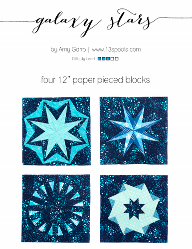 Quilt Block Pattern - Set of 4 Galaxy Stars