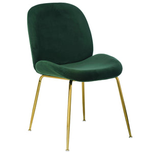 Lathan Velvet Dining Chair in Gold/Emerald