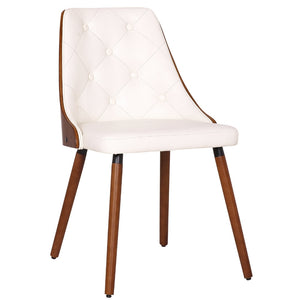 Dion Leatherette Dining Chair in Walnut/White