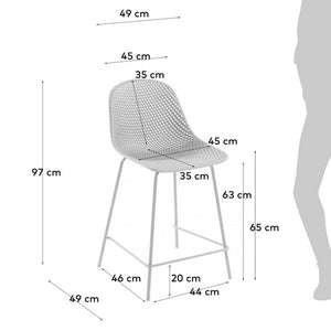 Brooks 65cm Bar Stool in White