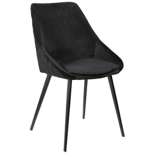 Jacob Velvet Dining Chair in Black