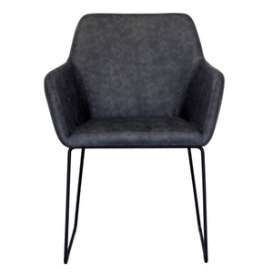 Alistair Leatherette Dining Chair in Vintage Dark Grey