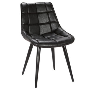 Jaxton Leatherette Dining Chair in Vintage Black/Black