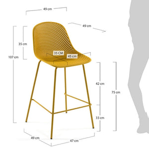 Brooks 75cm Bar Stool in Yellow