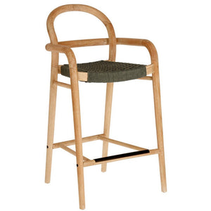 Garrett 69cm Eucalyptus Wood Bar Stool in Dark Green