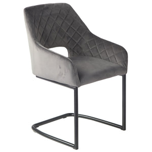 Axton Velvet Dining Chair in Pebble Grey
