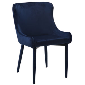 Duke Velvet Dining Chair in Navy Blue