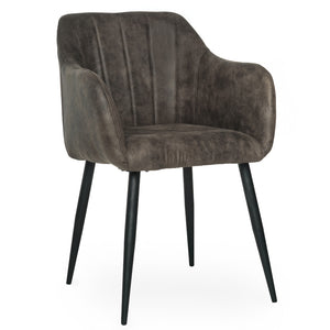 Niko Suede Dining Chair in Grey