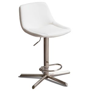 Lyric Leatherette Kitchen Bar Stool in Brushed Stainless/White