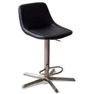 Lyric Leatherette Kitchen Bar Stool in Brushed Stainless/Black