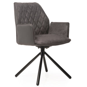 Declan Swivel Dining Chair in Grey