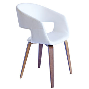 Brooke Leatherette Dining Chair in Walnut/White