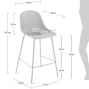 Brooks 75cm Bar Stool in White