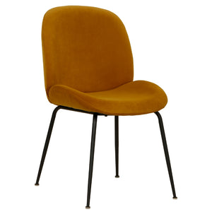 Lathan Velvet Dining Chair in Mustard