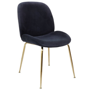 Lathan Velvet Dining Chair in Gold/Ink