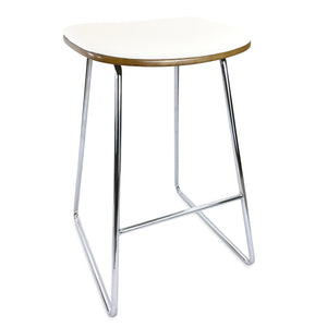 Blake Leatherette Kitchen Bar Stool in White/Chrome