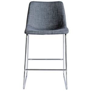Chase Fabric Bar Stool with Chrome Frame/Grey Seat