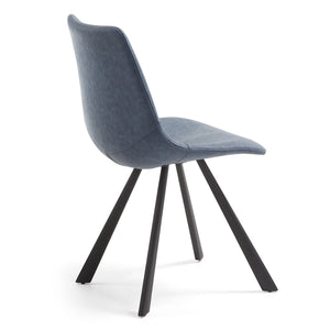 Reece Leatherette Dining Chair in Dark Blue