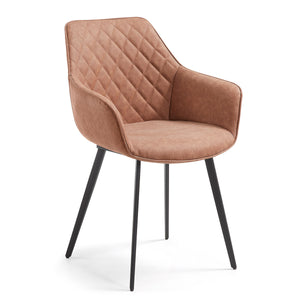 Colton Leatherette Dining Chair in Rust