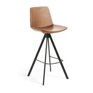 Zayne Leatherette Kitchen Bar Stool in Rust