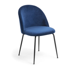 Marcel Velvet Dining Chair in Black/Navy Blue