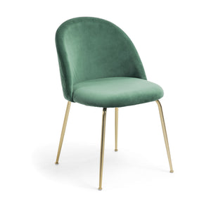 Marcel Velvet Dining Chair in Gold/Emerald