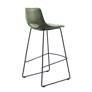 Kye Leatherette Kitchen Bar Stool in Green