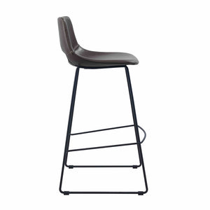 Kye Leatherette Kitchen Bar Stool in Dark Brown